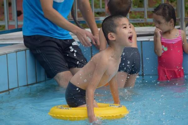 Caleb alone swimming 2015