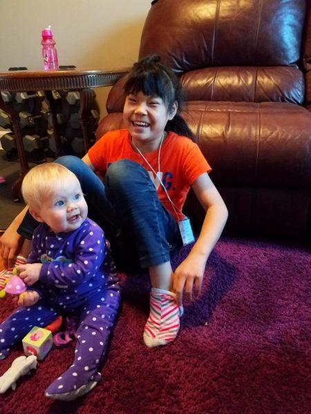 Kara with baby